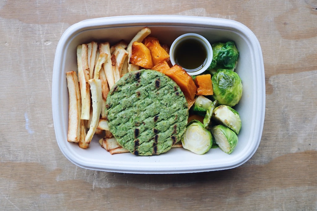 Herby Greens Burger (Wednesday) - Vegetarian Meal - Honey Bee Meals | Healthy Prepared Meals & Food Delivery Toronto
