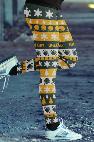 Green Bay Ugly Christmas Classic Football Leggings