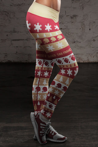 San Francisco Ugly Christmas Classic Football Leggings