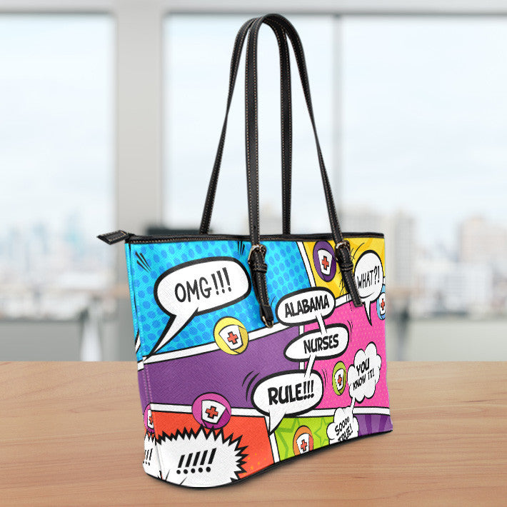 AL Comic Nurse Large Leather Tote Bag