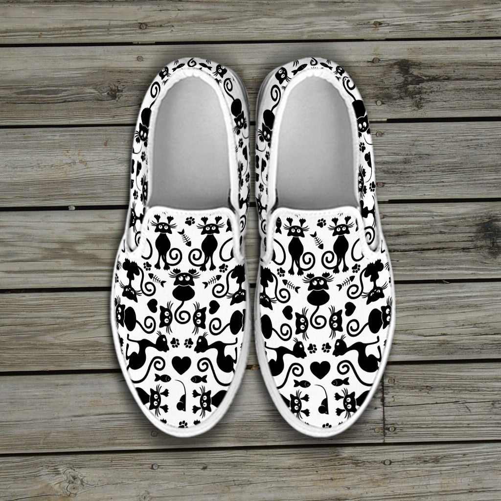Cats White Slip Ons