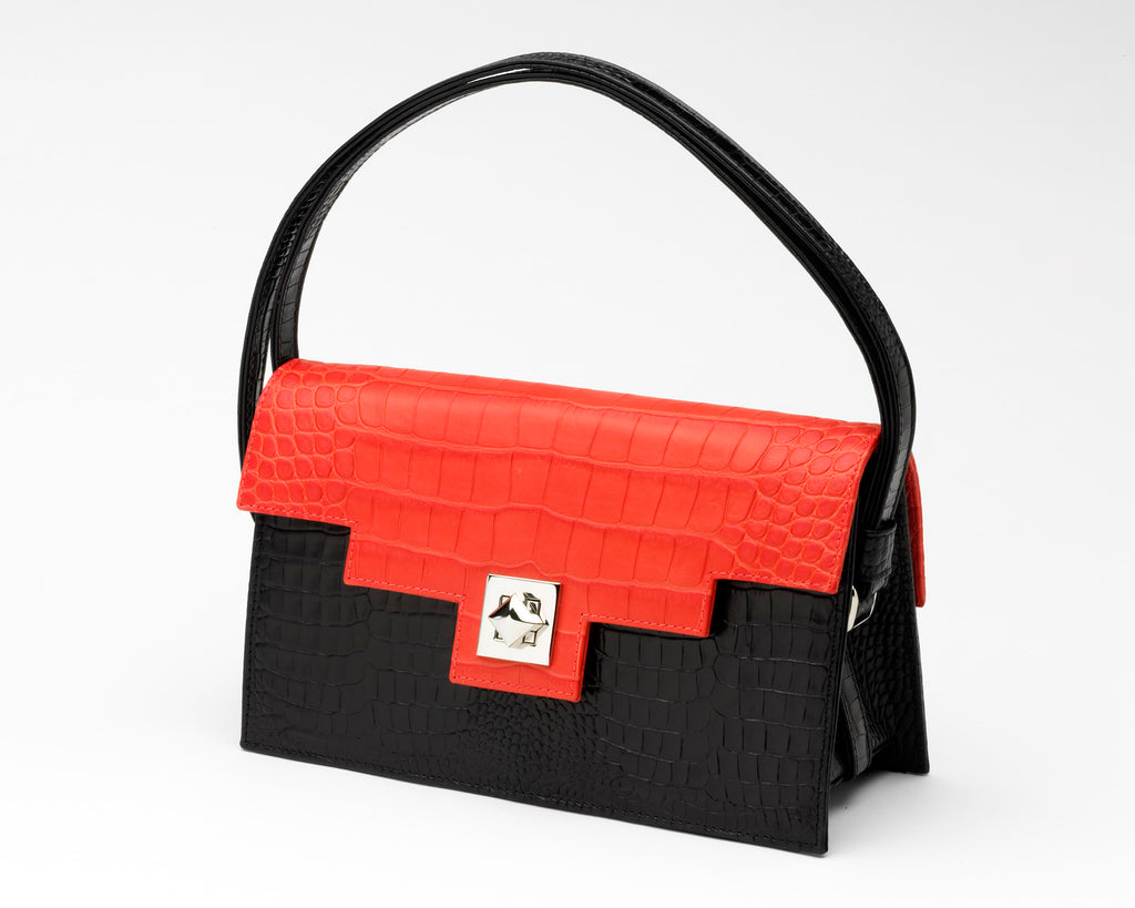 Quoin Handbag - Black Croc with Red Flap