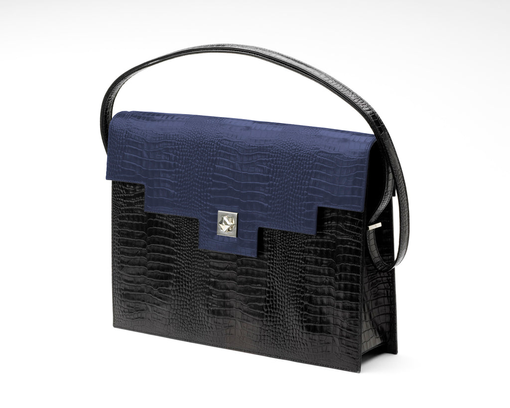Quoin Briefcase - Black Croc with Navy Flap