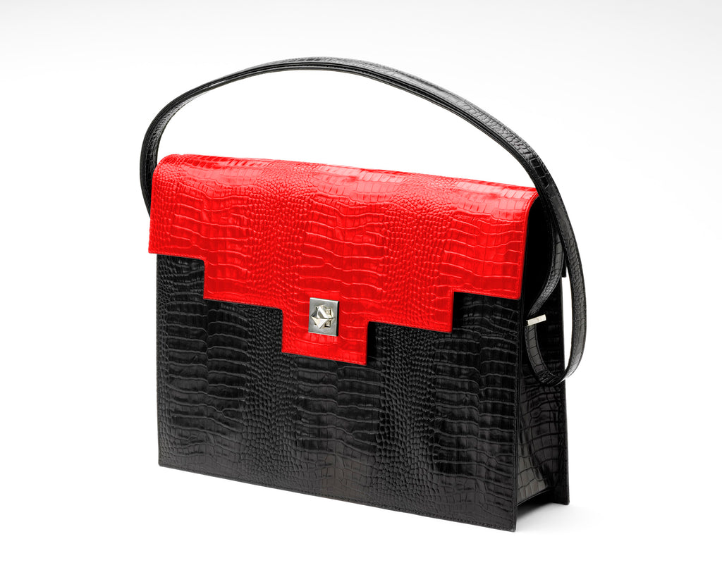 Quoin Briefcase - Black Croc with Red Flap