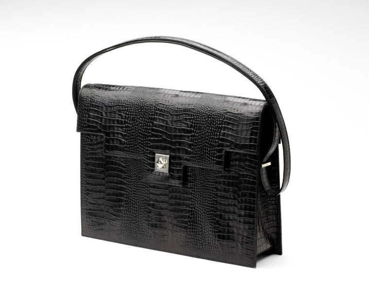 Quoin Briefcase - Black Croc