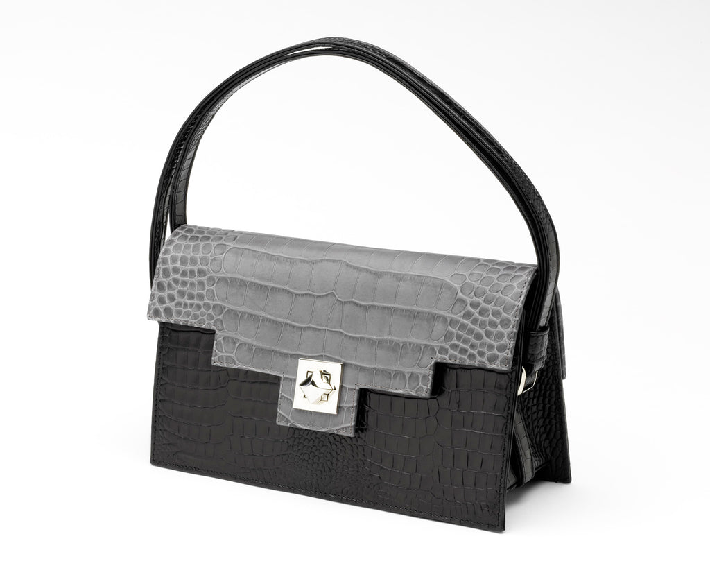 Quoin Handbag - Black Croc with Grey Flap