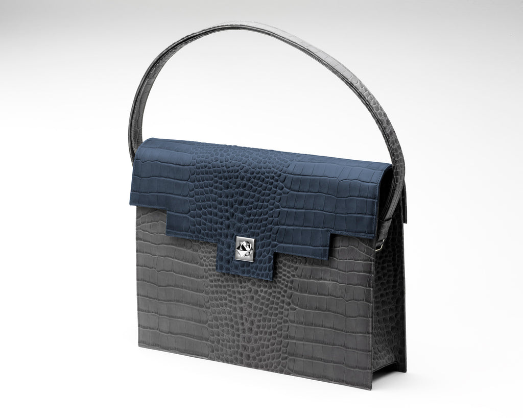 Quoin Briefcase - Grey Croc with Navy Flap