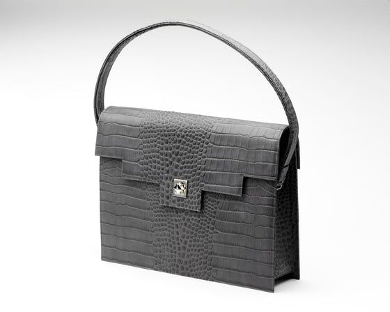 Quoin Briefcase - Grey Croc