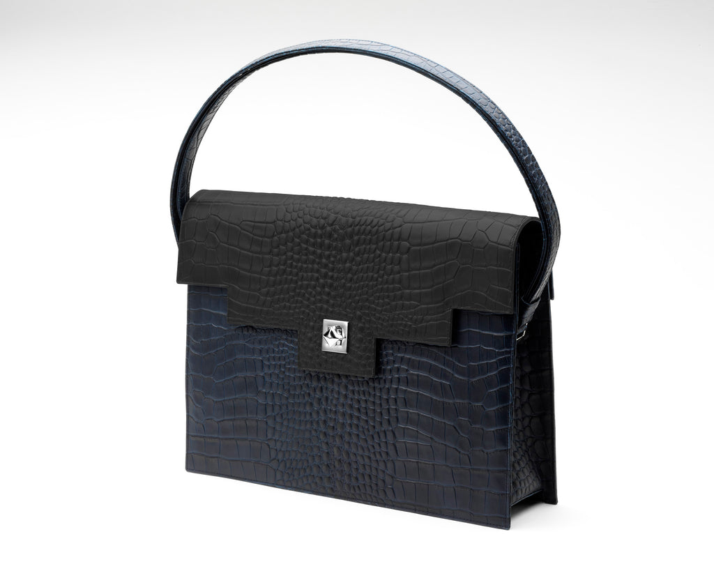 Quoin Briefcase - Navy Croc with Black Flap