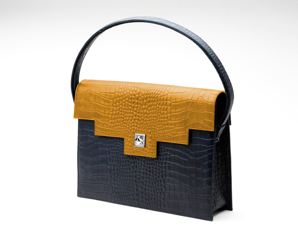 Quoin Briefcase - Navy Croc with Tan Flap