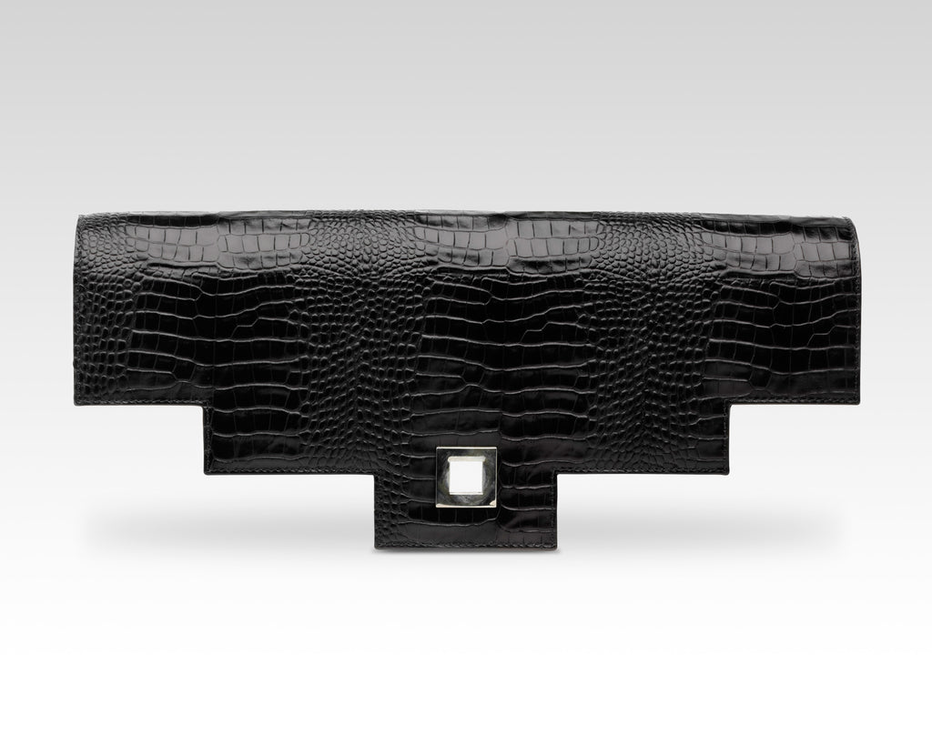 Quoin Briefcase Flap in Black Croc