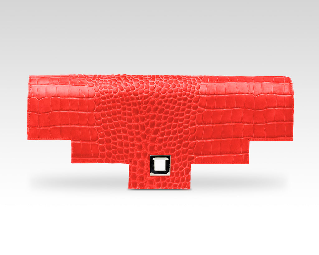 Quoin Briefcase Flap in Red Croc