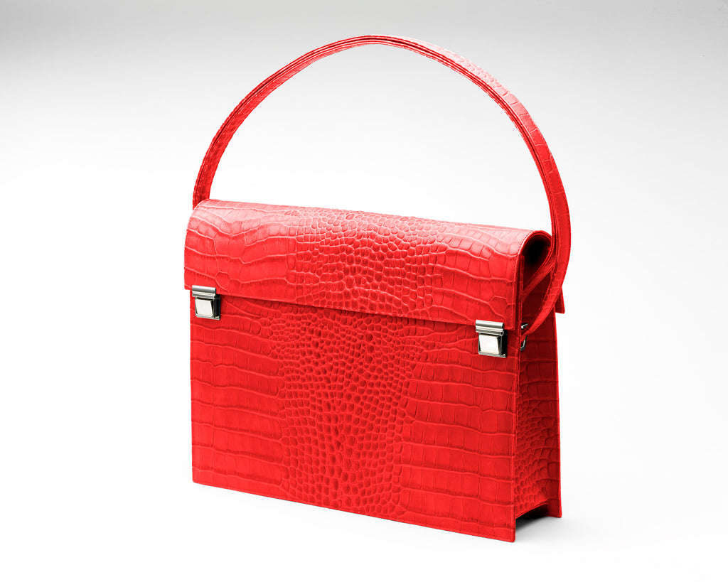 Zoe Darling Quoin Briefcase - Red Croc