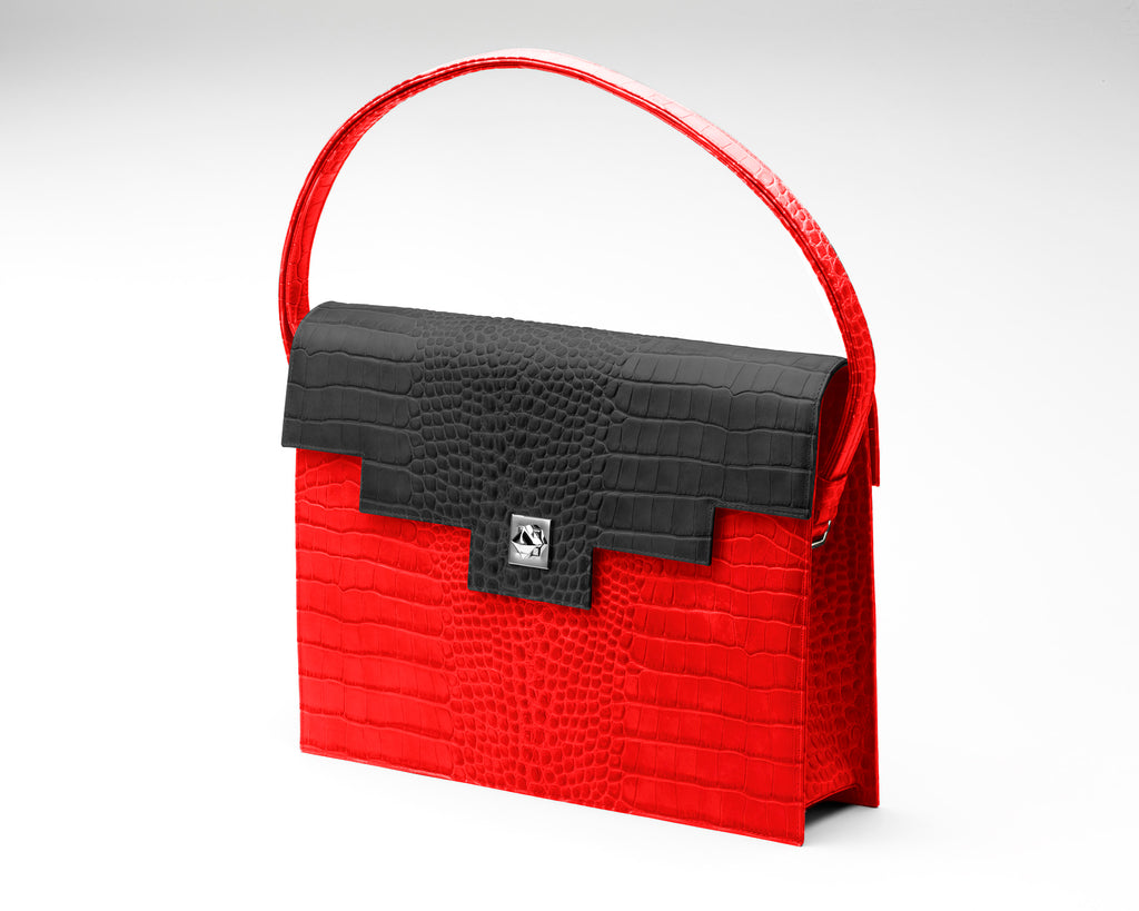 Quoin Briefcase - Red Croc with Black Flap