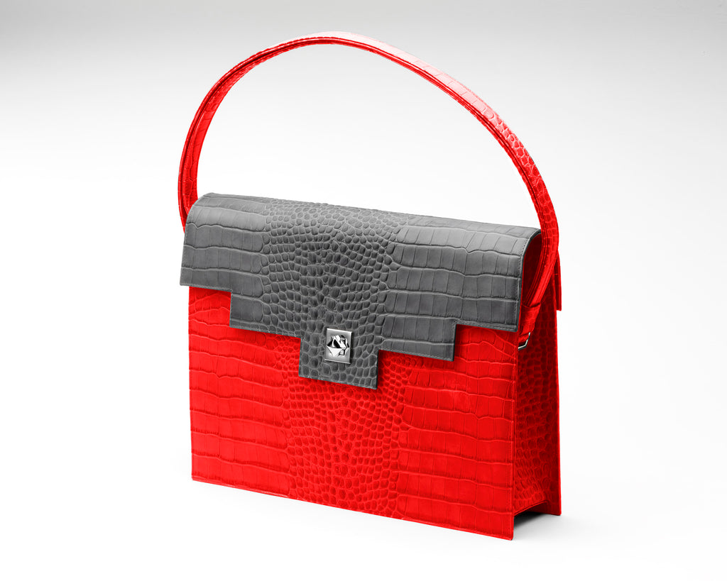Quoin Briefcase - Red Croc with Grey Flap
