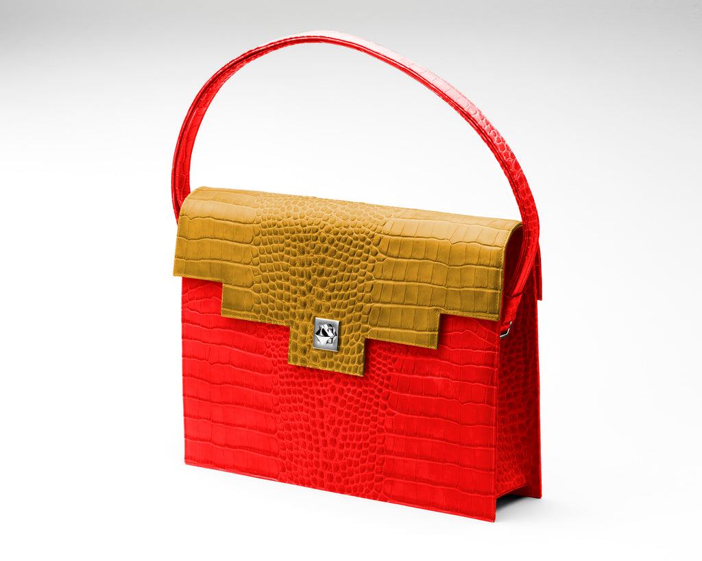 Quoin Briefcase - Red Croc with Tan Flap