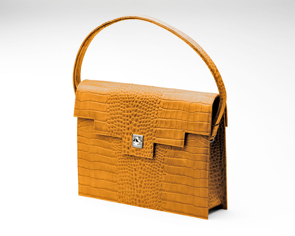 Zoe Darling Quoin Briefcase - Tan Croc