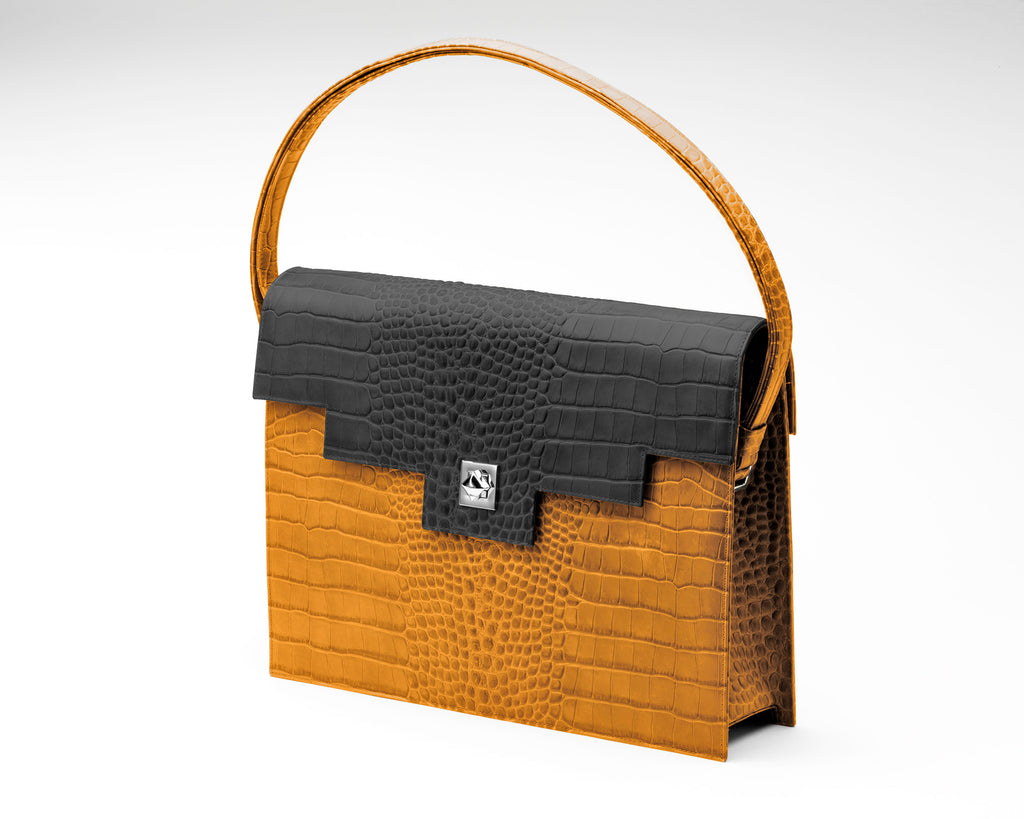 Quoin Briefcase - Tan Croc with Black Flap