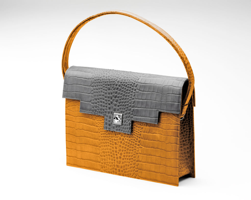 Quoin Briefcase - Tan Croc with Grey Flap