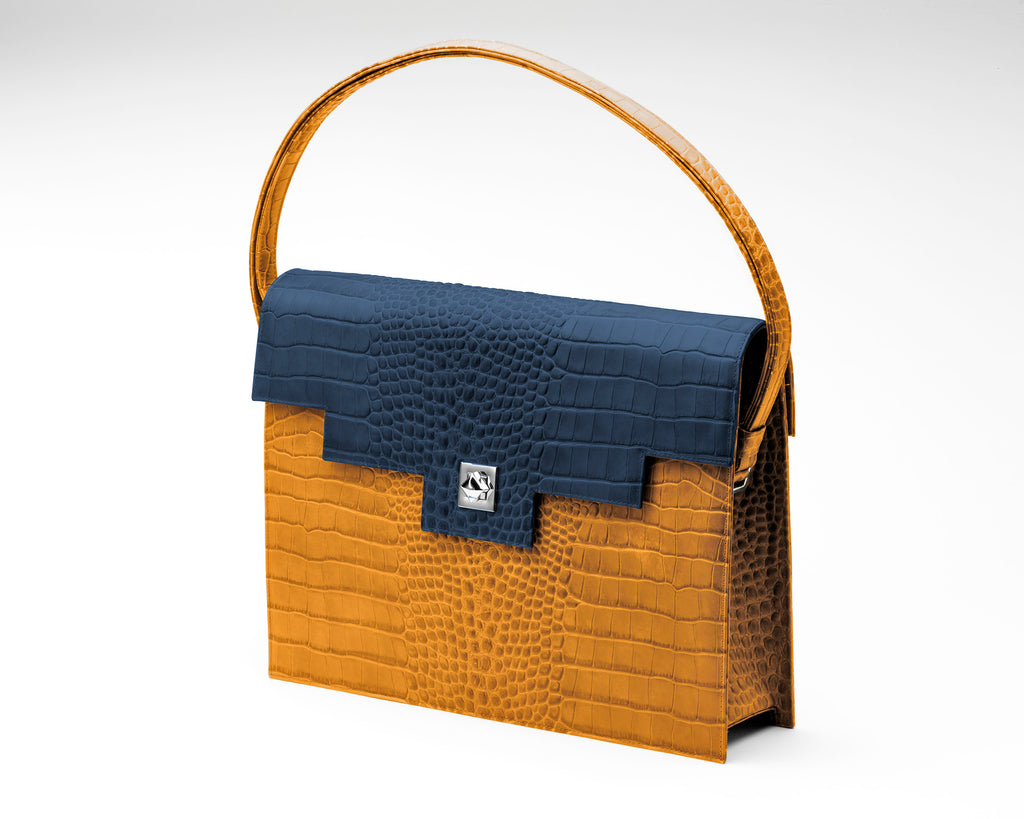 Quoin Briefcase - Tan Croc with Navy Flap