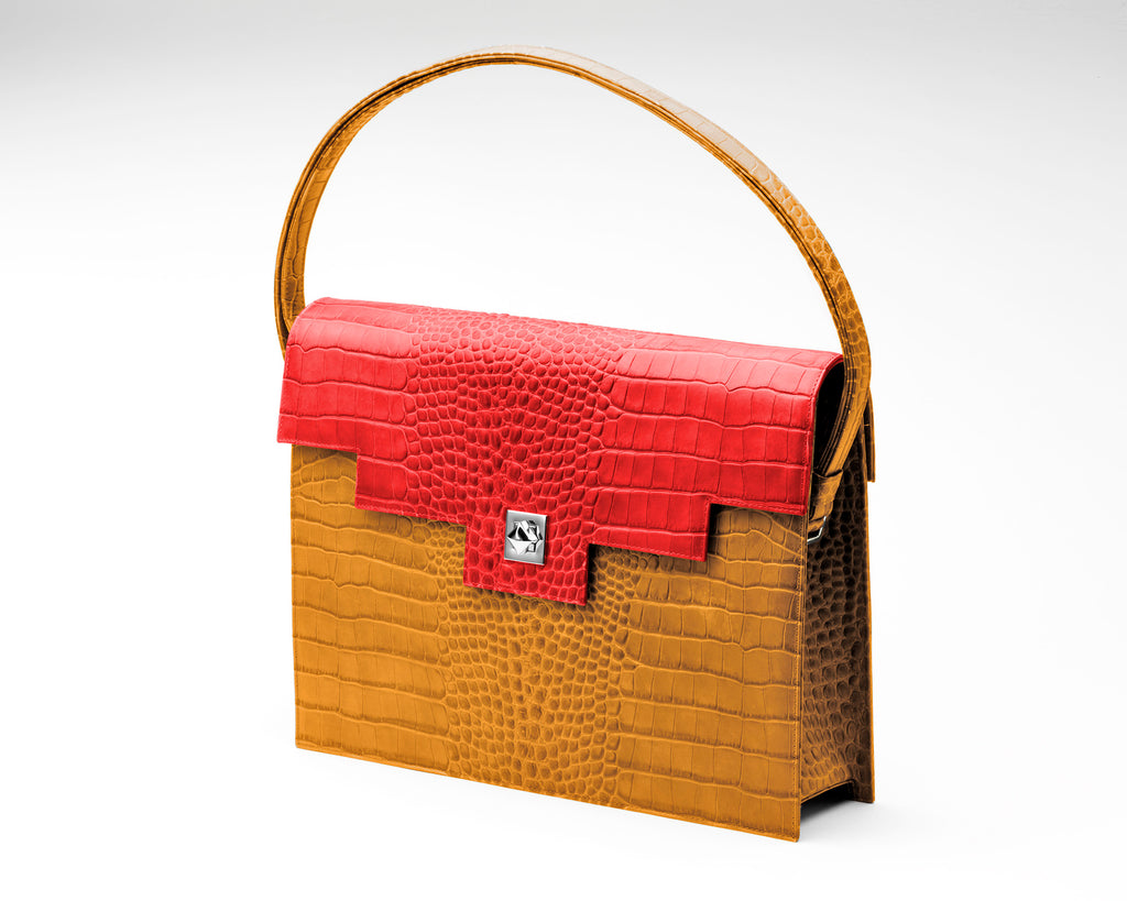 Quoin Briefcase - Tan Croc with Red Flap