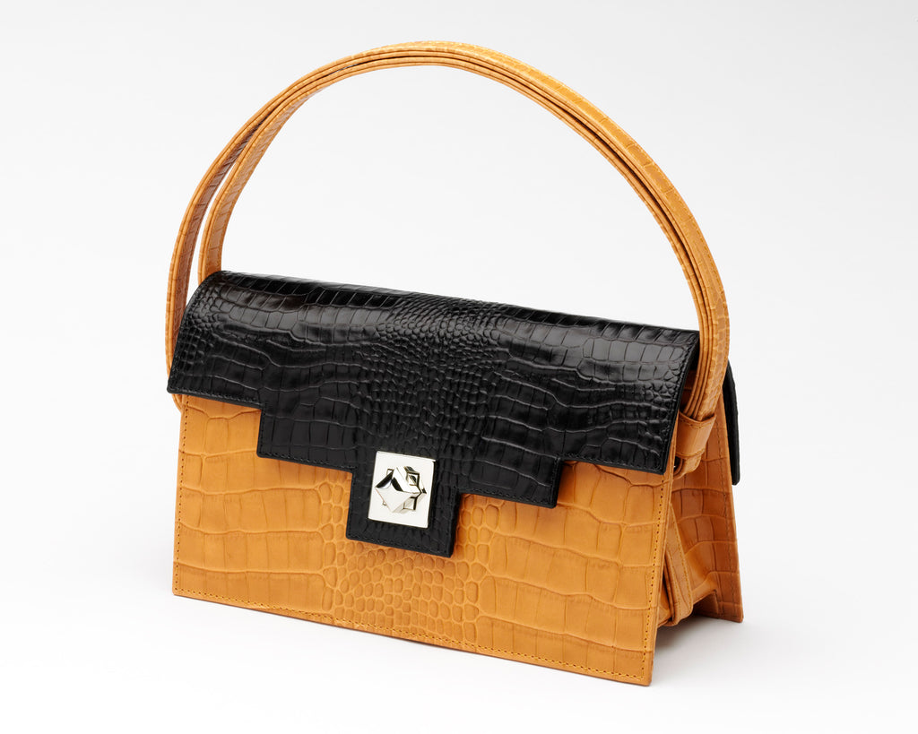 Quoin Medium Handbag in Tan with Black Flap