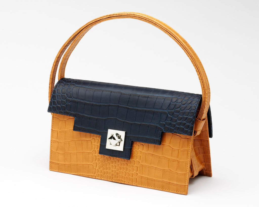 Quoin Medium Handbag in Tan with Navy Flap