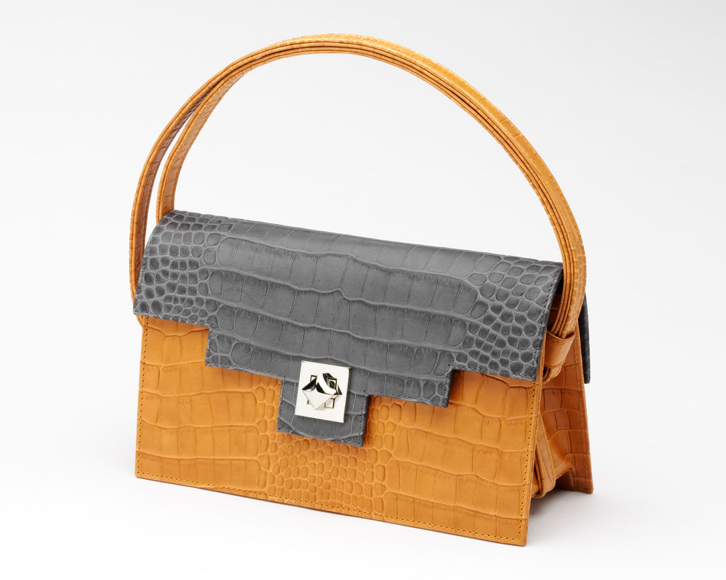 Quoin Medium Handbag in Tan with Grey Flap