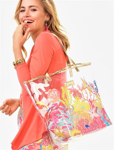 Clear Floral Beach Tote