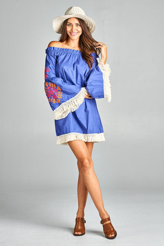 Royal Blue Embroidered Dress