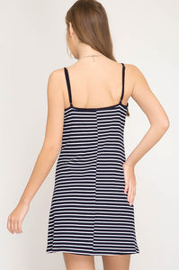 Navy Striped Cami Dress