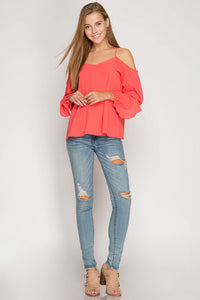Neon Coral Blouse