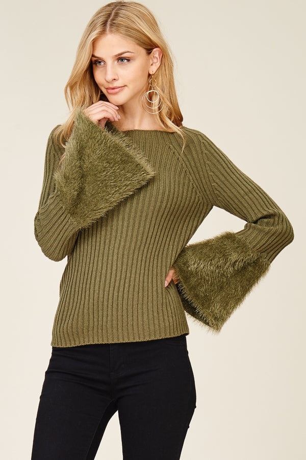 Knit Top with Fuzzy Bell Sleeves
