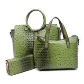 Ostrich/Croc 3 in 1 Satchel Set