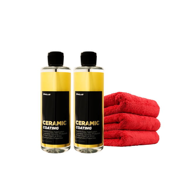 Ceramic Bundle Pack (2) Ceramic Coating (3) Super Soft Microfiber Towels - Instant Hydrophobic Protection, Brilliant Depth & Shine 16oz