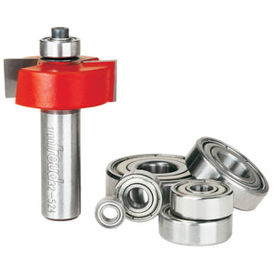 "Freud  32-524 flush, 1/8"",1/4"",5/16"",3/8"",7/16"",1/2"" Depth Rabbeting Bit Set with interchangeable bearings with 1/2"" Shank"