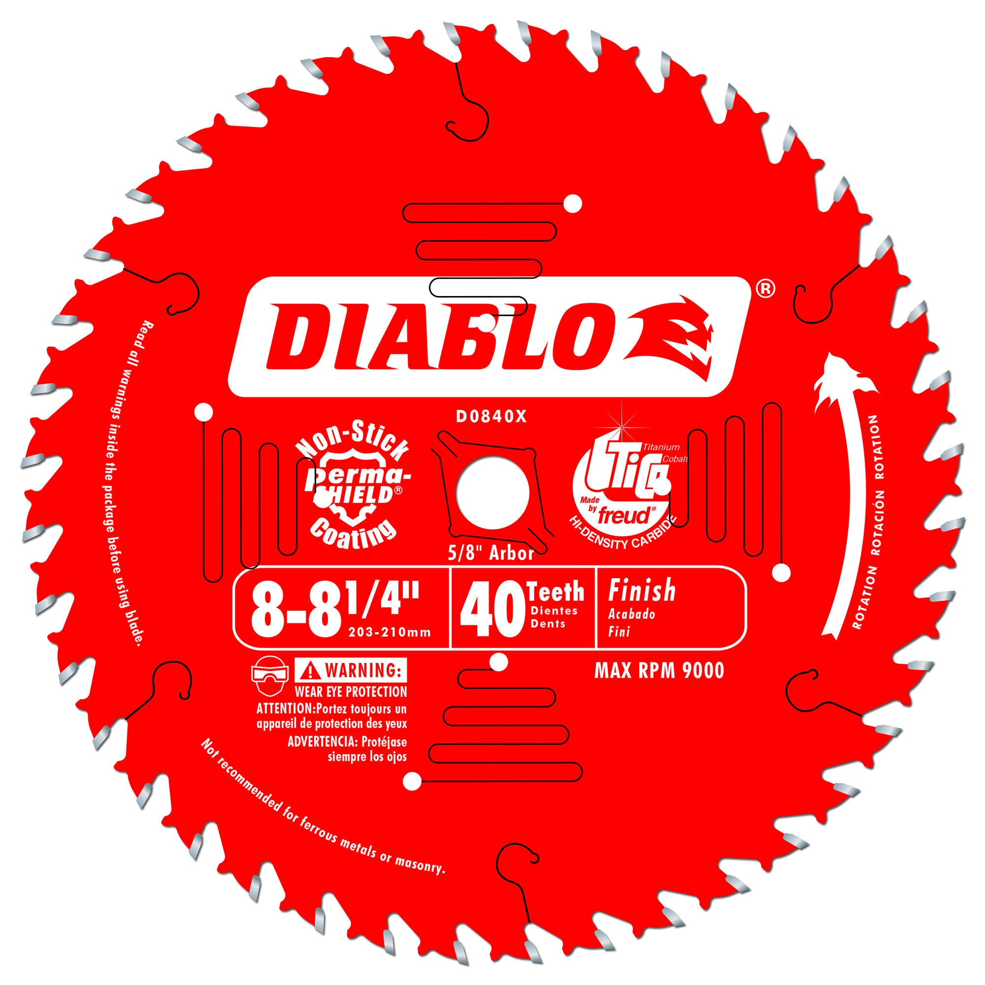 Diablo D0840X 8-1/4 in. x 40 Tooth Carbide Finish Blade