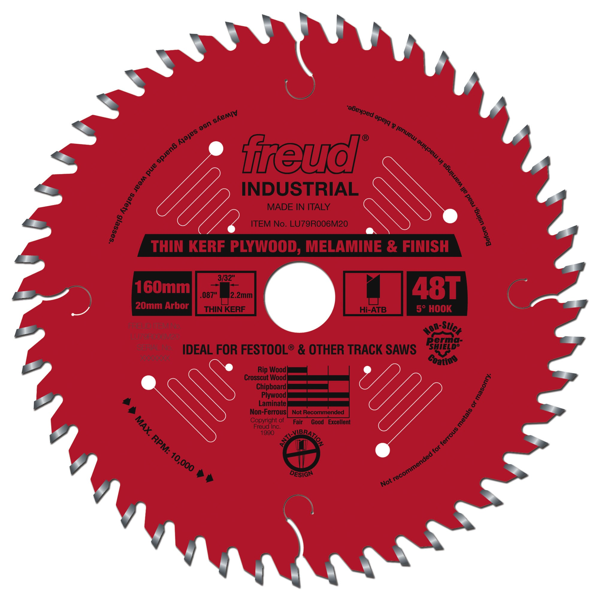 "FREUD LU79R006M20, 160 mm (6.5""), 48 teeth with 20mm Arbor Thin Kerf Ultimate Plywood Blade for Track Saws"