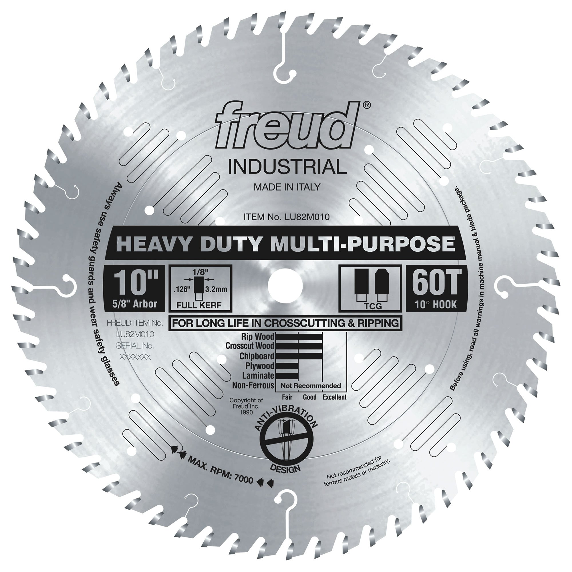"Freud LU82M010, 10"" Freud Heavy-Duty Multi-Purpose Blade, 60 Teeth"