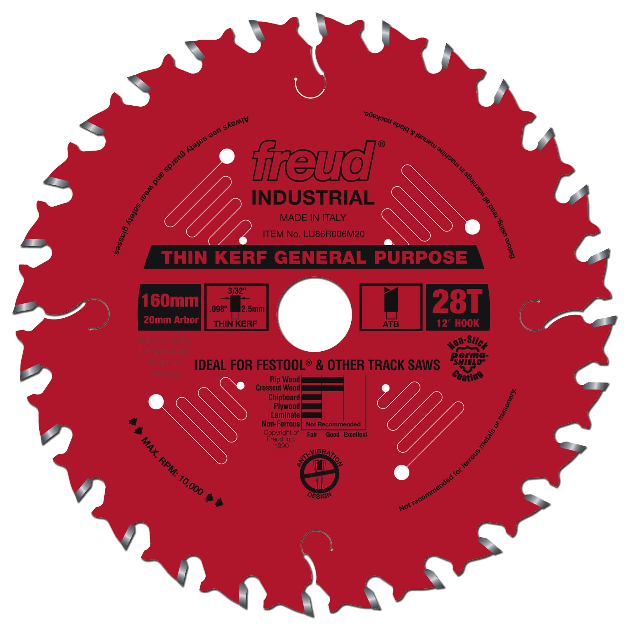 "Freud LU86R006M20, 160 mm (6.5""), 28 teeth, 20 mm arbor, Thin Kerf General Purpose for Track Saws"