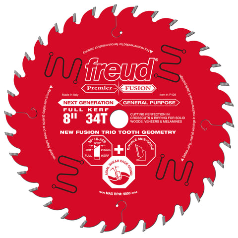 "Freud P408 8"" 34T Premier Fusion General Purpose Blade"