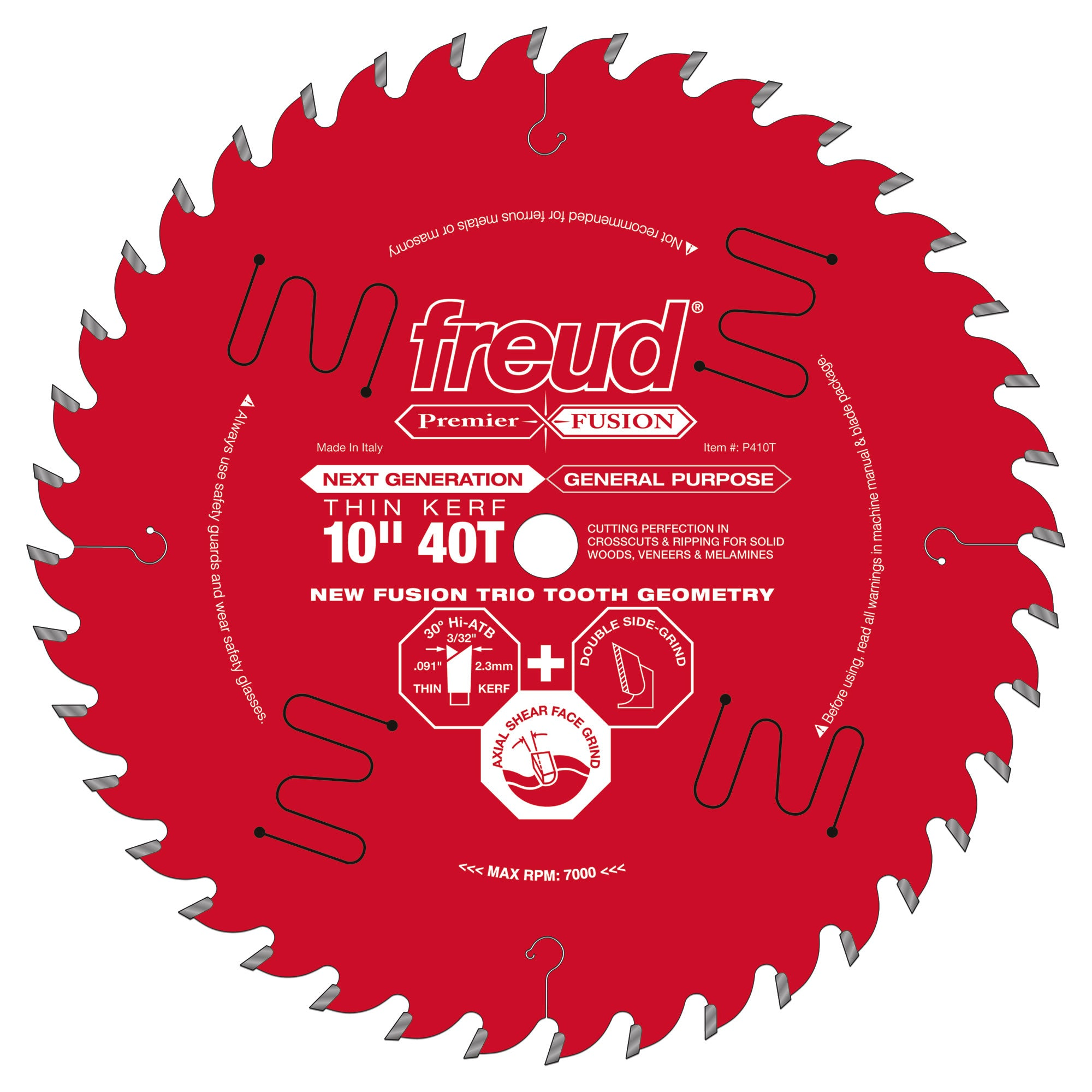 "Freud P410T 10"" Thin Kerf Next Generation Premier Fusion General Purpose Blade"