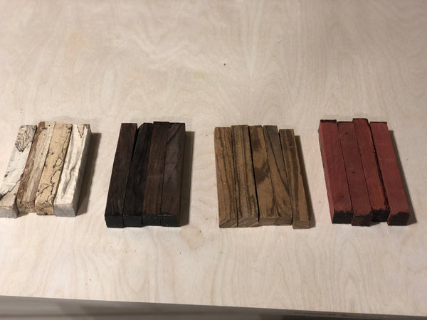 20 Pen Blanks - Zebrawood, Cocobolo, Chakte Coc, Spalted Tamarind