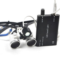 Dental Medical Binocular Loupes 3.5 x 420mm Optical Dental Glass Loupe with LED Head Light