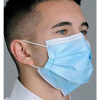 Dental Earloop Mask Blue, 50/Bx, Level 1, Fluid Resistant, Soft Breathe E-Z Pleated