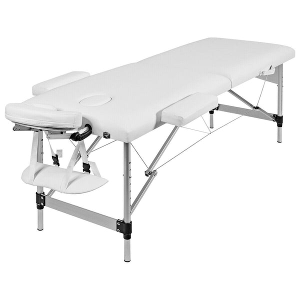 Portable Aluminum 3-Fold Massage Table White w/Carry Case, Multifunctional