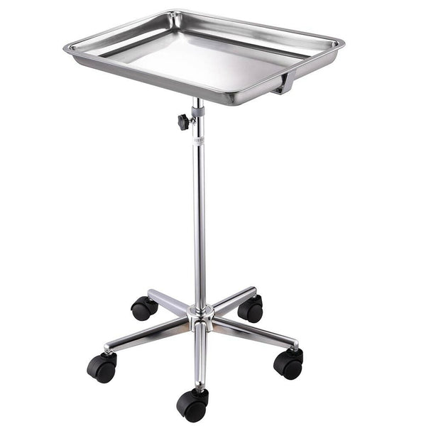 Mobile Stainless Steel Tray Stand Trolley Dental Equipment