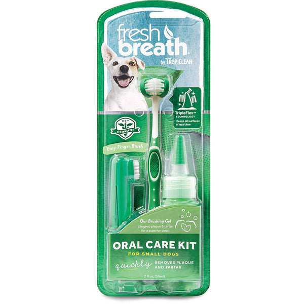 TROPICLEAN Dog/Cat Fresh Breath Oral Care Kit Canine Gel Tooth Brush