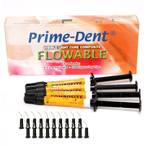 Prime-Dent Flowable Composite A2, 4 Syringe Kit, (Visible Light Cure)