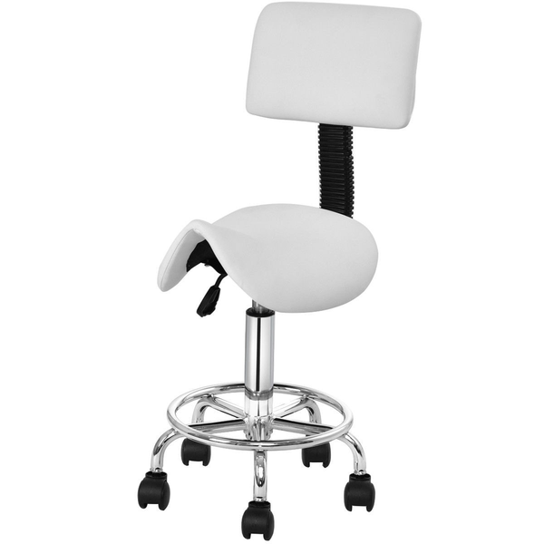 Adjustable Saddle Stool Rolling Chair with Backrest for Dental Clinic or SPA